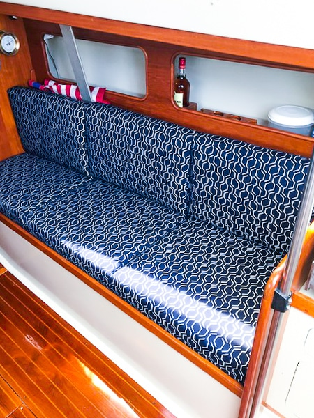Reupholstered boat seat cushions